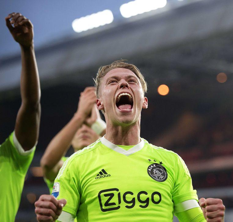 Fischer na afloop van de 2-0 overwinning tegen PSV Beeld ANP