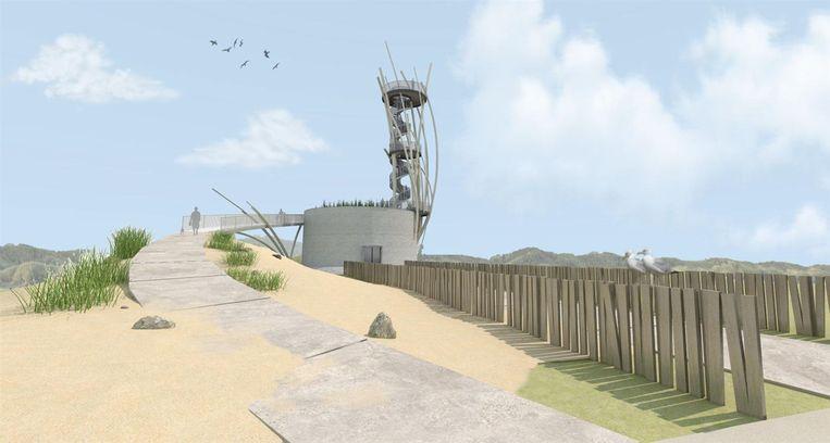Zo zal de Warandetoren eruitzien. Vanuit de nieuwe uitkijktoren zal zowel het strand en de duinen, als de polders en het beeldenpark in de omgeving te zien zijn.