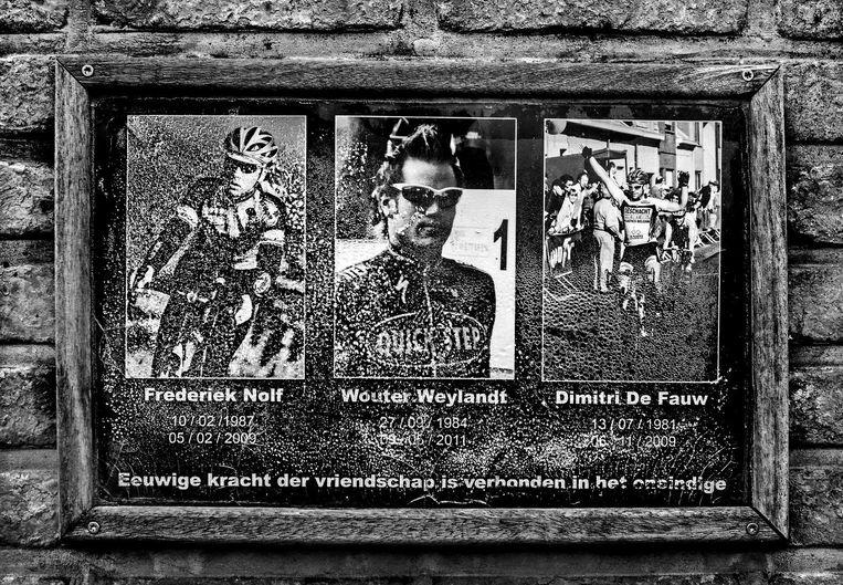 Frederiek Nolf, Wouter Weylandt en Dimitri De Fauw, drie wielrenners overleden tussen 2009 en 2011. Beeld Klaas Jan van der Weij / de Volkskrant
