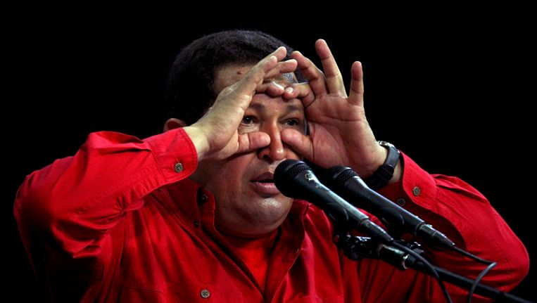 Chávez tijdens een speech in november 2008 in Caracas. Beeld REUTERS