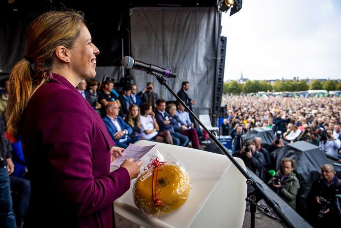 Minister Schouten op het Malieveld tijdens het landelijk boerenprotest gisteren.
