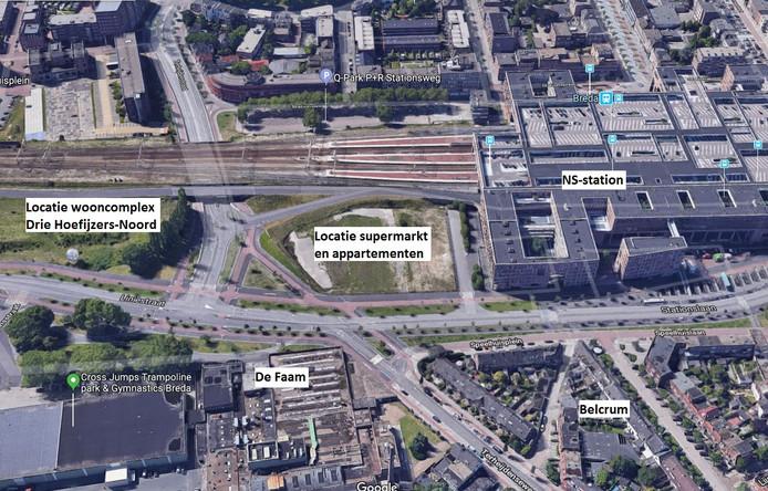 Het te bouwen Thes-appartementencomplex plus supermarkt komt direct naast station Breda.