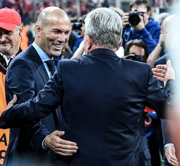Zidane en Heynckes vorige week in de Allianz Arena.