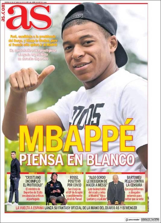 Kylian Mbappé siert de cover va AS.