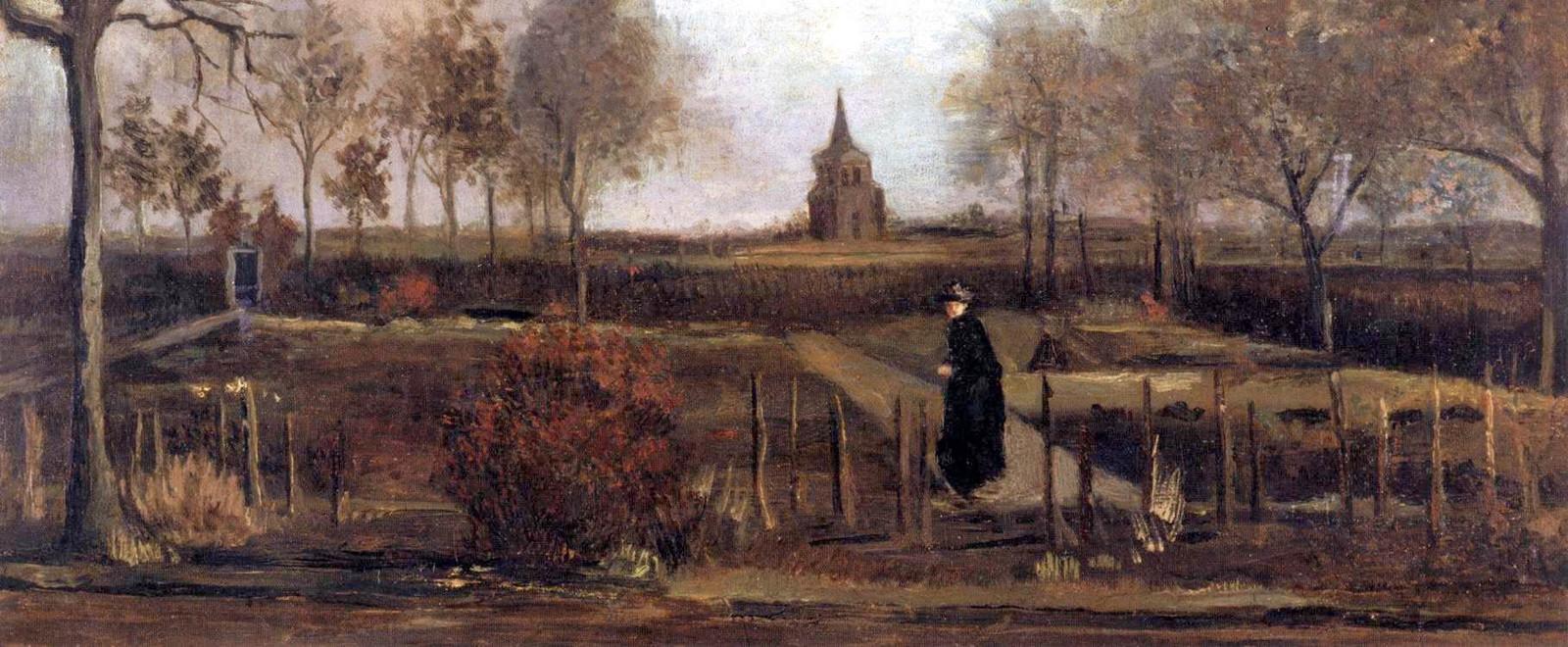 Lentetuin, de pastorietuin van Nuenen in het voorjaar, van Vincent van Gogh. Het doek is nog niet terecht.
