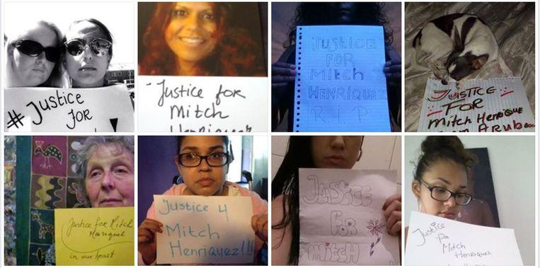 Steunbetuigingen die zijn geplaatst op de Facebookpagina Justice for Mitch Henriquez. Beeld .