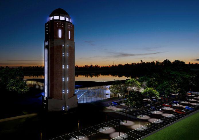 Impressie van het toekomstige hotel als eyecatcher en toegangspoort naar de Veerse Plassen. 'De vleugels gaan het water als het ware omarmen'.