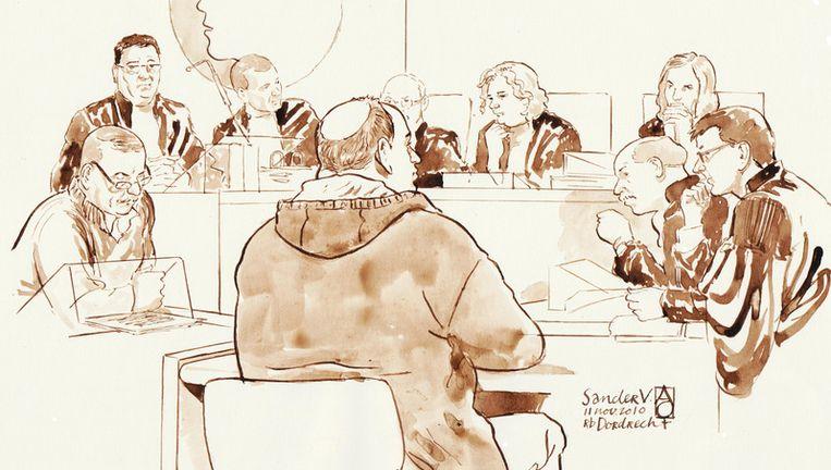 Rechtbanktekening, met op de voorgrond Sander V. Bron ANP Beeld