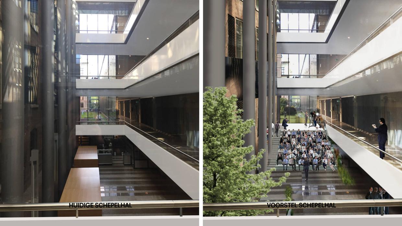 Het meest omstreden onderdeel van Ellen van Loons verbouwingsplannen: de binnentuin in de Schepelhal, volgens Kamerleden een 'tropische kantoortuin'.  Beeld OMA
