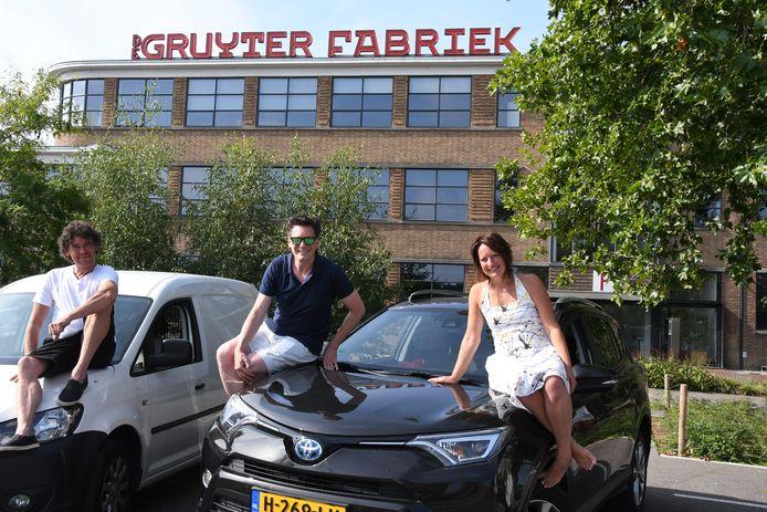 De organisatoren van de Voorruit Rally. V.l.n.r. Rob Janssen, Sebastiaan Beks en Hester Klein Tijssink.