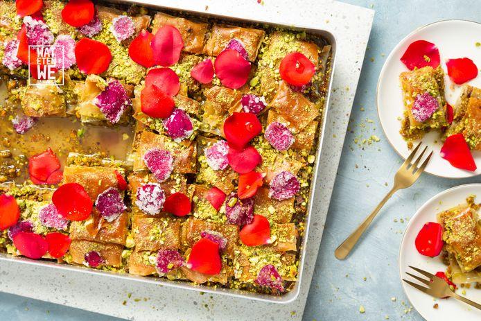 Baklava van pistache en rozenblaadjes