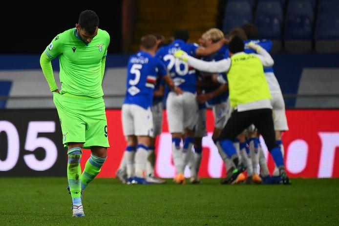 Feest bij Sampdoria na een doelpunt.