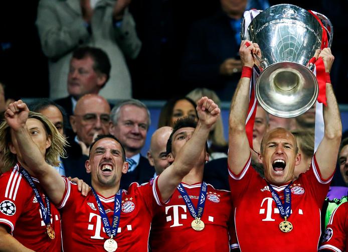"""Het grootste succes van """"Robbery"""" bij Bayern: de Champions League-winst in 2013, dankzij de winnende goal van Robben."""