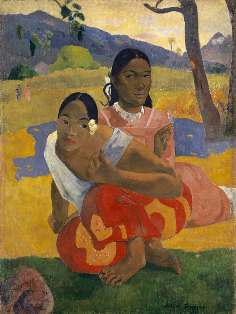 Wanneer trouw je? Door Paul Gauguin, 1892. Nu te zien in Fondation Beyeler in Basel, het museum van de oprichter van de kunstbeurs Art Basel. Een Zwitserse verzamelaar verkocht het werk voor 300miljoen euro aan het koningshuis van Qatar. Beeld null