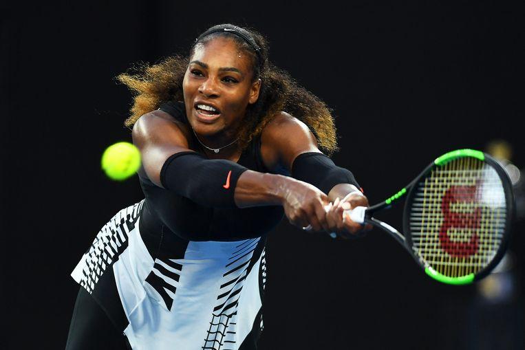 Serena Williams tijdens de Australian Open, die ze won. Ze was toen twee maanden zwanger. Beeld EPA