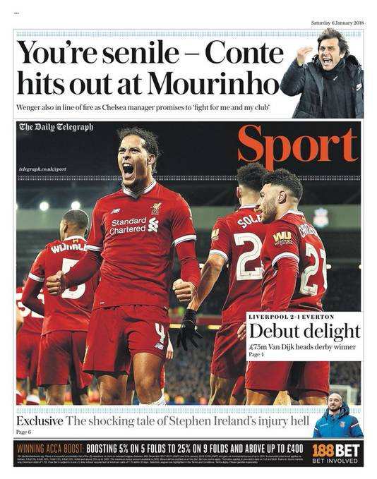 De cover van The Daily Telegraph.