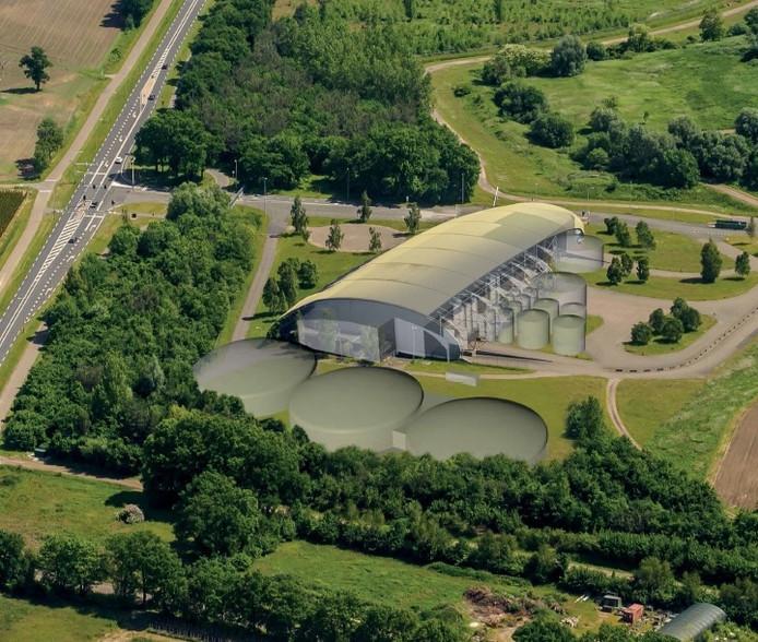 Impressie van de toekomstige mestfabriek van Twence op Elhorst Vloedbelt.