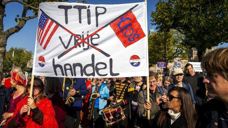 Deelnemers tijdens een grote demonstratie tegen het omstreden handelsverdrag TTIP in Amsterdam. Beeld anp
