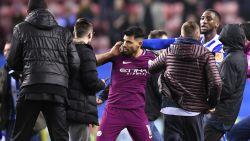 Poppetjes aan het dansen na uitschakeling City in FA Cup: Agüero ei zo na op de vuist met Wigan-fan