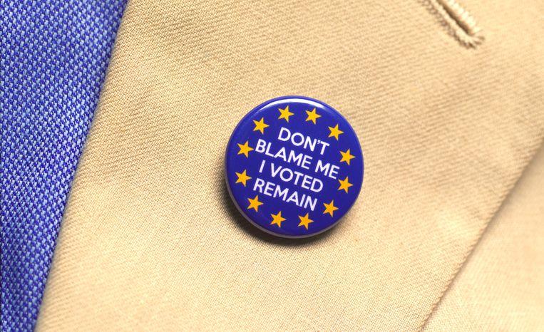 Iemand draagt een 'Remain'-badge in Londen, juli 2019.  Beeld Getty Images