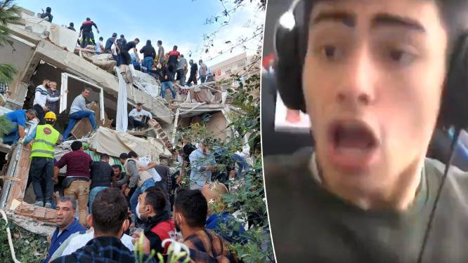 Zware aardbeving vlakbij Grieks eiland Samos en Turkse stad Izmir: beelden tonen hoe gebouwen instorten en tsunami kust overspoelt
