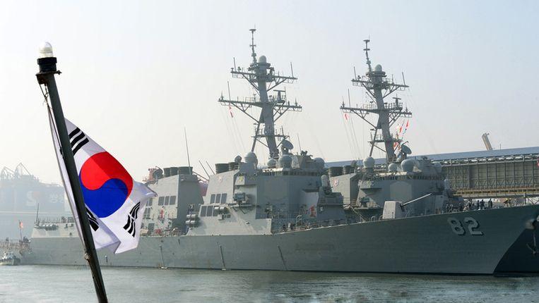 De USS Fitzgerald tijdens een gezamenlijke militaire oefening tussen de VS en Zuid-Korea. Beeld ap