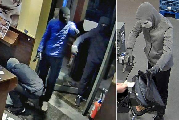 Links de drie daders tijdens de overval van Pizza Hut, rechts één dader tijdens de overval van Colruyt.