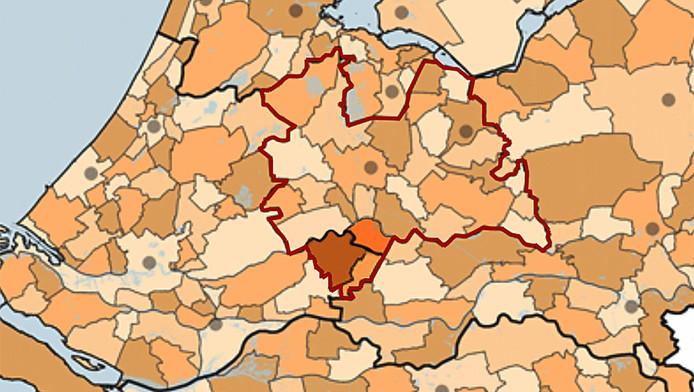De nieuwe grenzen van de provincie Utrecht (rood).