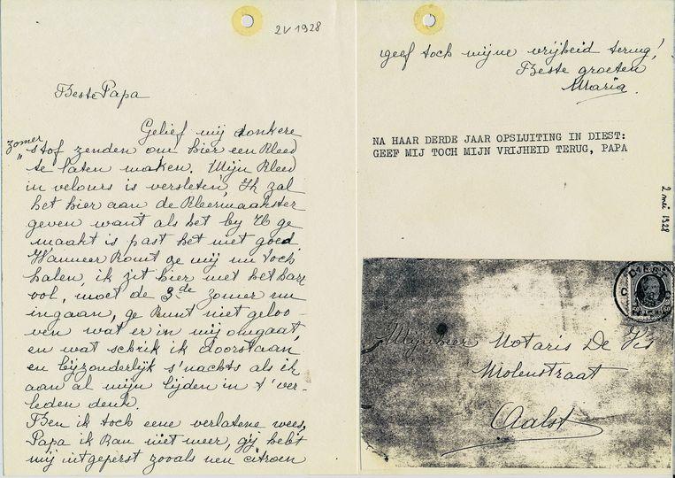 Een van de brieven die Maria schreef aan haar vader waarin ze smeekt om haar niet langer op te sluiten.