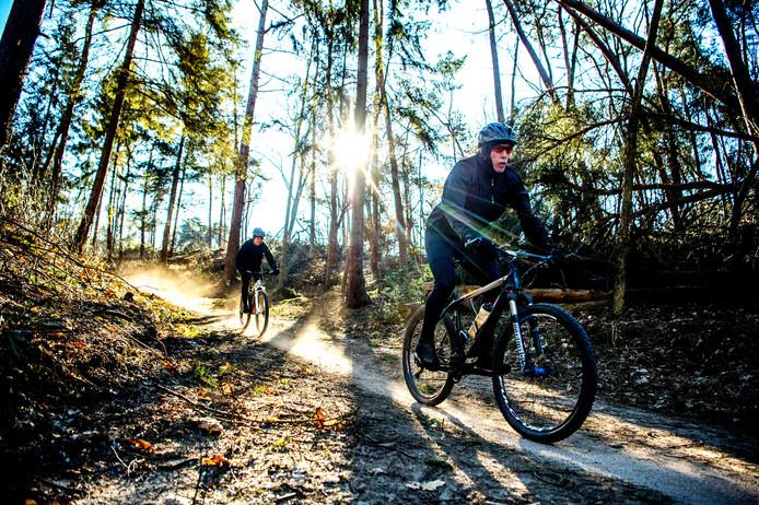 Mountainbikers in de bossen bij Mook.
