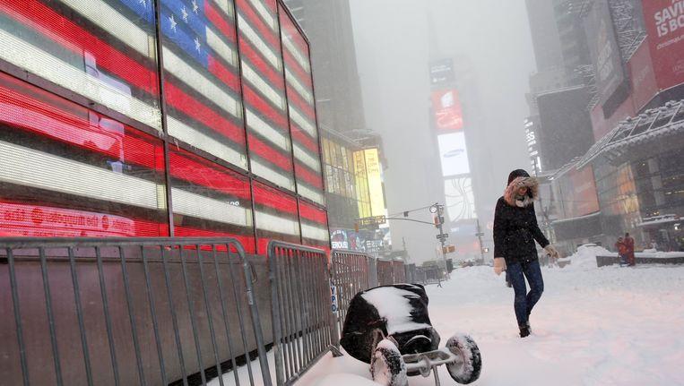 Sneeuw op Times Square. Beeld reuters