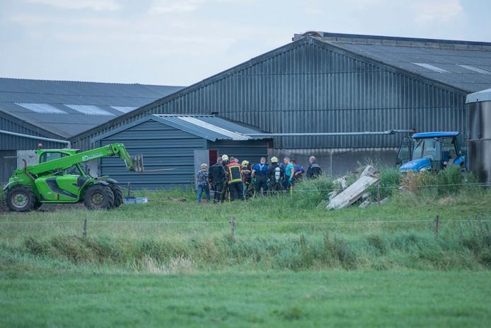Een koe is in de gierkelder een melkveebedrijf is gevallen.