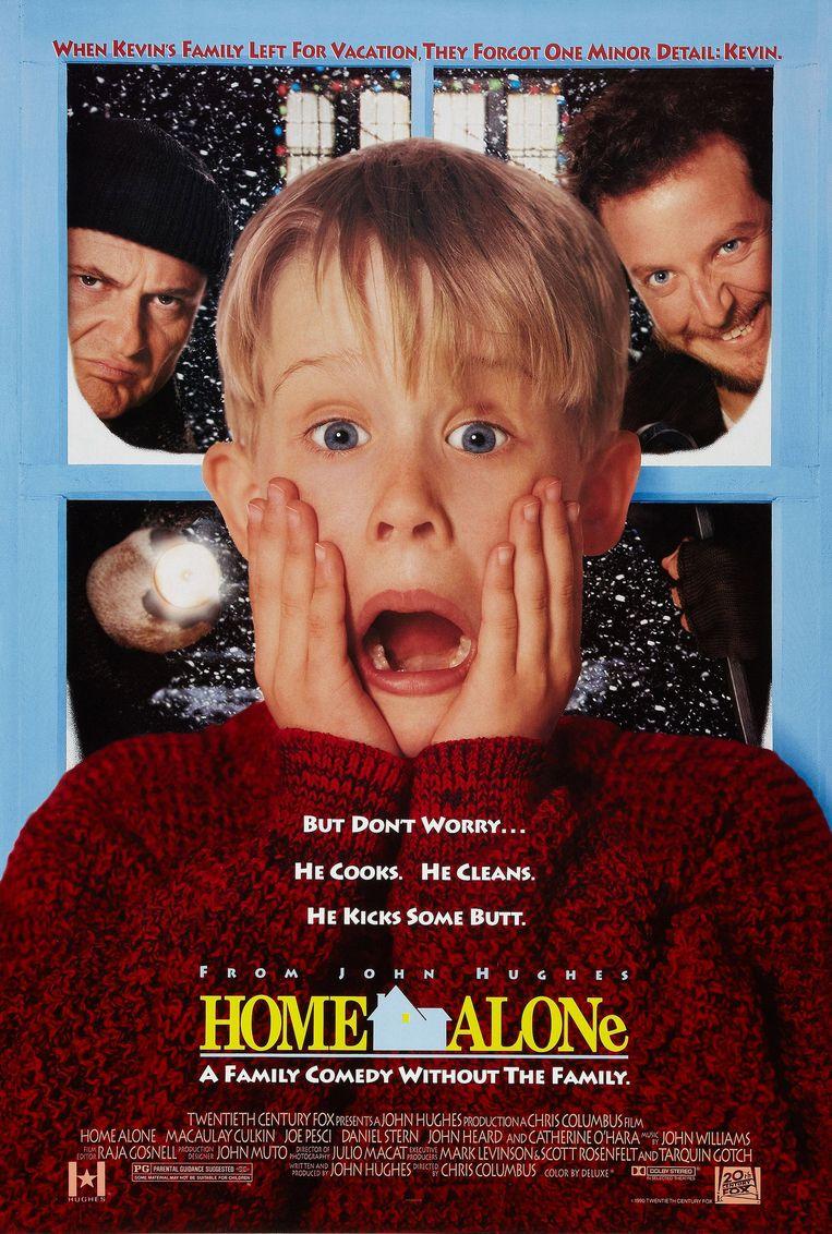 De 'Home Alone' poster waarop Macaulay zijn beroemde geschrokken pose aanneemt.