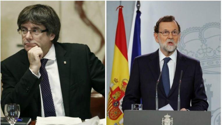 Catalaans premier Carles Puigdemont en de Spaanse premier Mariano Rajoy.