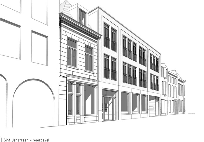 Het oorspronkelijke plan voor het voormalige pand van Brejaart in de St. Janstraat in Breda.