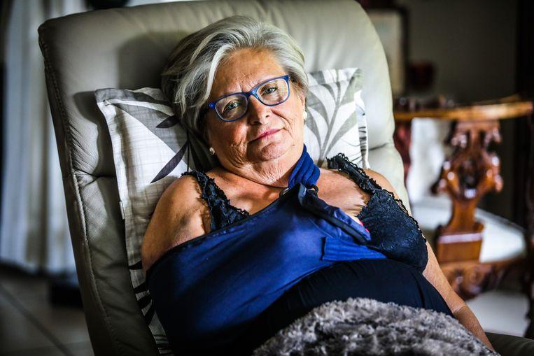 Brigitte Marique brak bij het ongeval zaterdag haar rechterschouder.