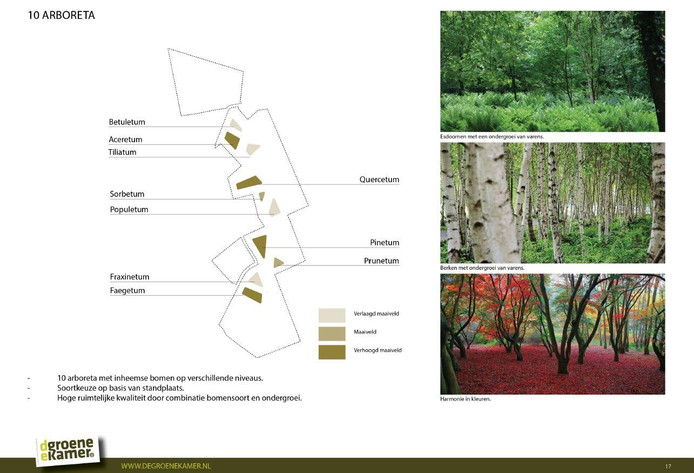 Plan voor 10 bomentuinen Landgoed De Groene Kamer uit Voorlopig Ontwerp, 2014