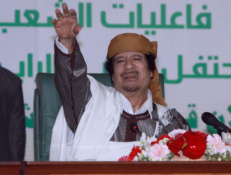 Voormalig Libisch leider Moammar Kadhafi. In 1996 beweerden kapers een boodschap van God voor hem te hebben.
