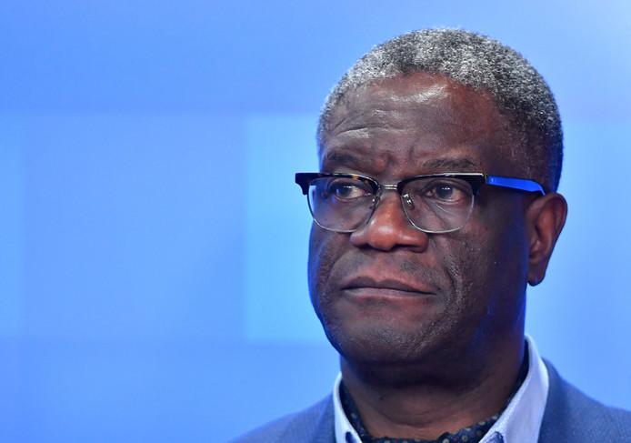 Denis Mukwege tijdens een persconferentie deze maand bij de Europese Commissie in Brussel