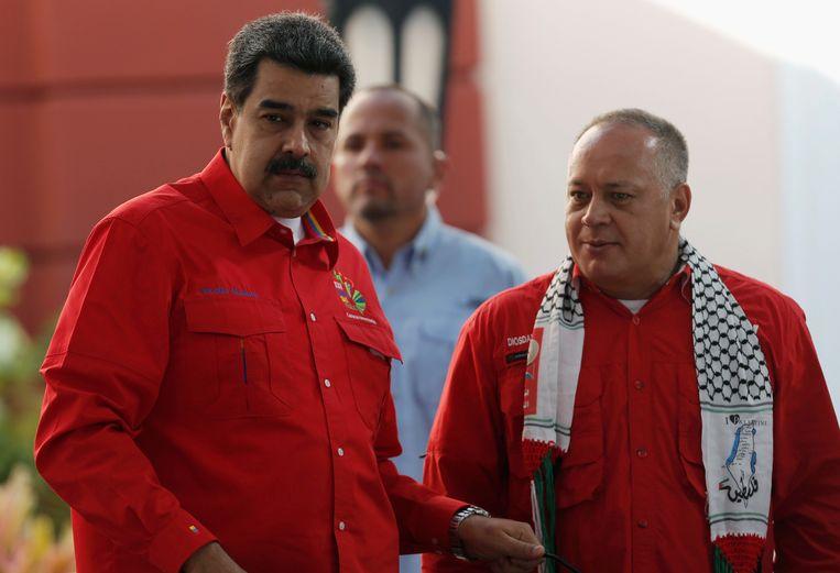 Venezolaans president Nicolás Maduro (links) en Diosdado Cabello, de nummer twee van Maduro's Verenigde Socialistische Partij van Venezuela.