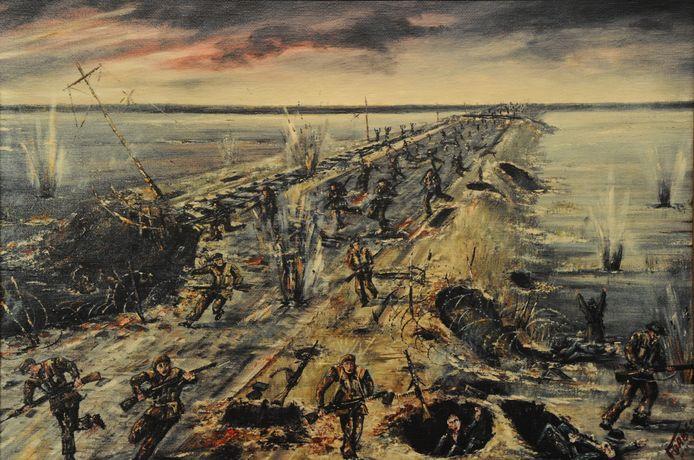 Schilderij van de Slag op de Sloedam door de Canadees Jacques Jean-Charles Bertrand Forbes, die er zelf meevocht.