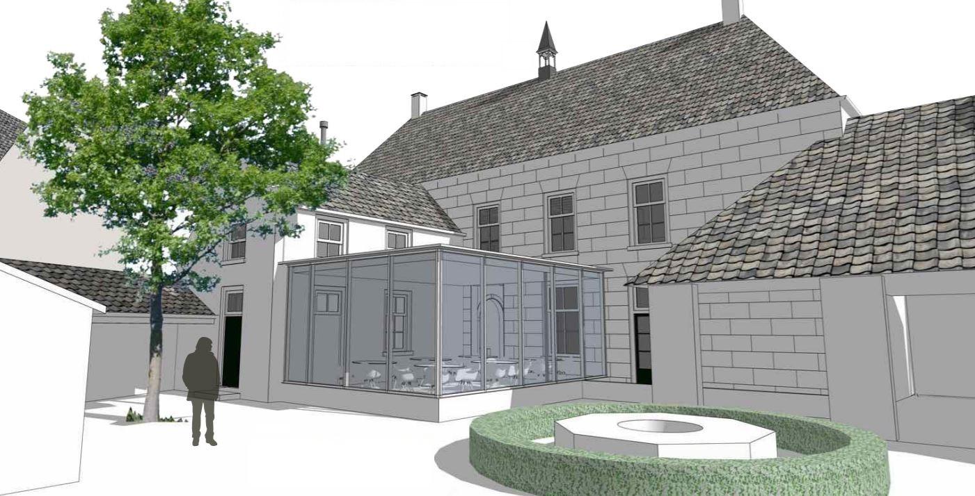Impressie van de achterzijde van het Raadhuis, na de verbouwing.