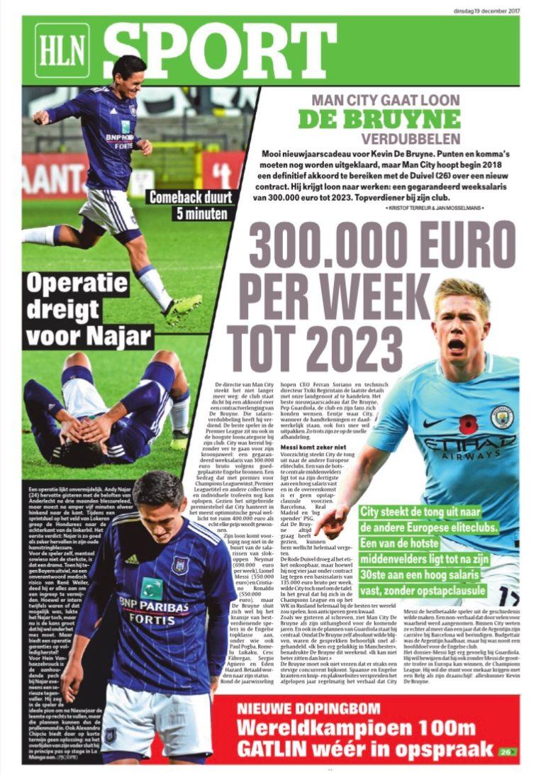 Het Laatste Nieuws van dinsdag 19 december, toen deze krant exclusief uitpakte met het nieuwe contract voor De Bruyne.