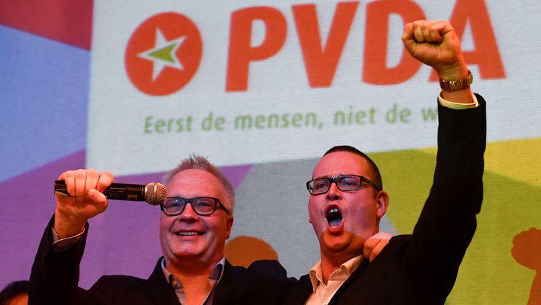 Raoul Hedebouw, voorzitter van PVDA Wallonië met zijn Vlaamse collega, Peter Mertens.