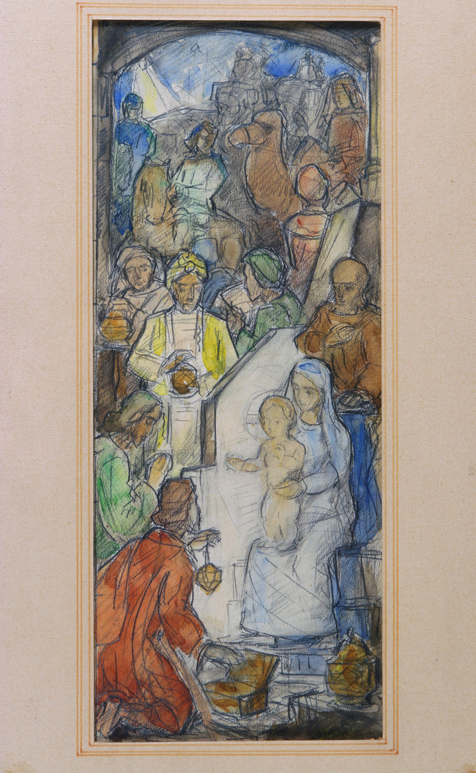De tekening van Jan Toorop van de geboorte van Christus met Maria en de Drie Wijzen uit het Oosten wordt geveild bij Hessink's in Zwolle.