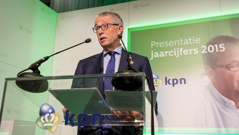 KPN Topman Eelco Blok tijdens de presentatie van de jaarcijfers. Beeld null