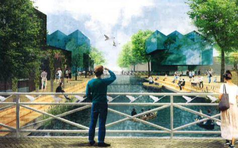 Toekomstbeeld vanaf de Zwaanse Brug, met rechts het huidige parkeerterrein, uit het gemeentelijk plan 'Binnen de bruggen'.