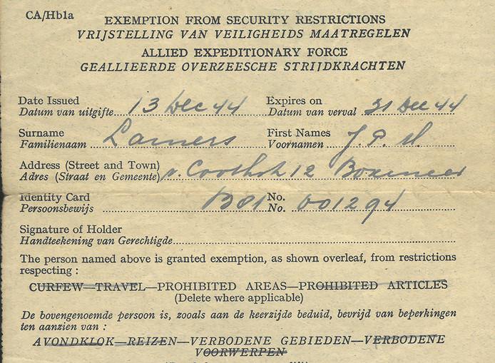 Toegangspasje van J. Lamers uit Boxmeer, lid van de Binnenlandse Strijdkrachten.