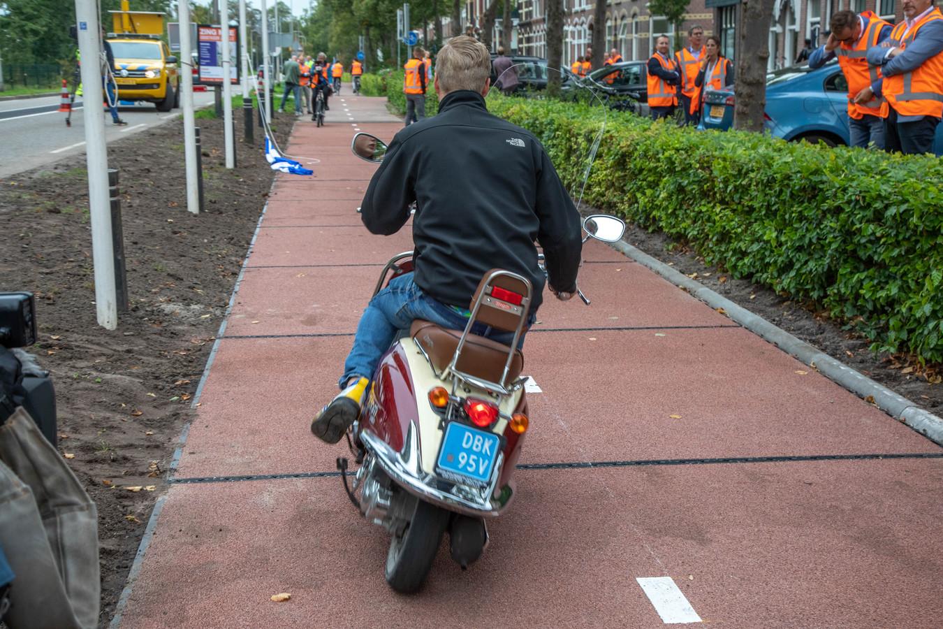 Het plastic fietspad in Zwolle.