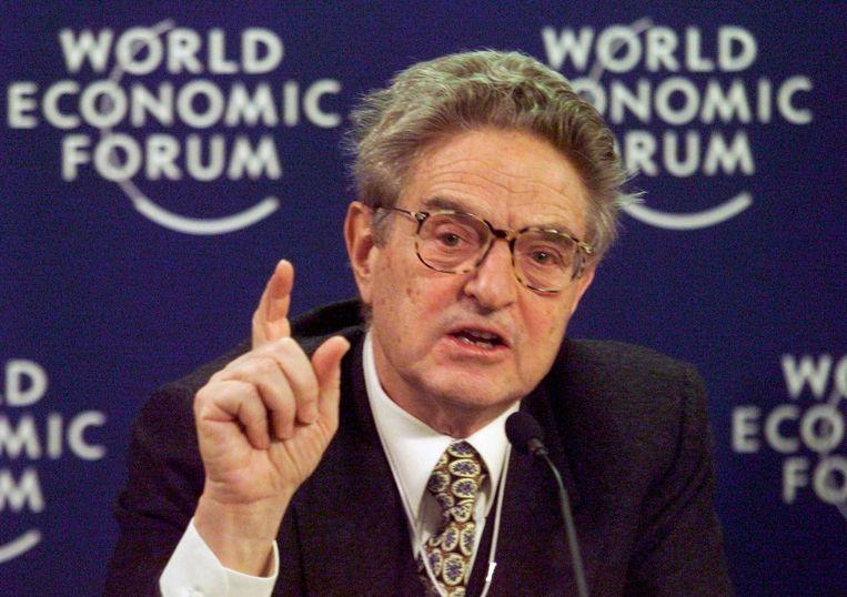 George Soros tijdens het World Economic Forum in Davos.